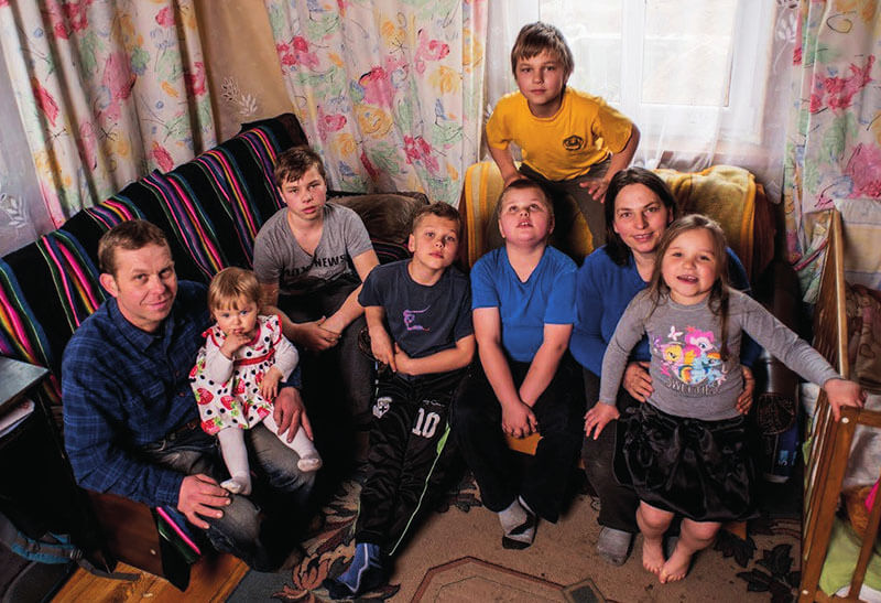 Family suffering from housing poverty in Poland