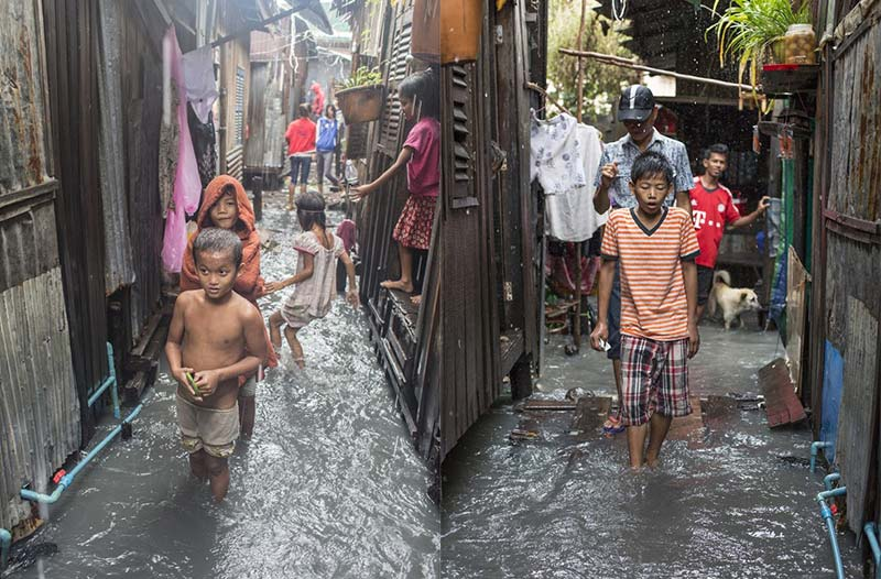Floods in Cambodian Slums - Extreme Poverty