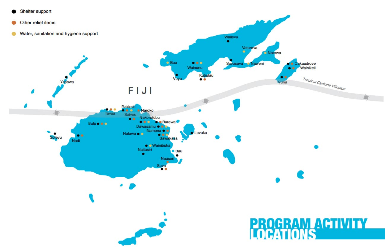 Fiji Hurricane disaster relief shelters map