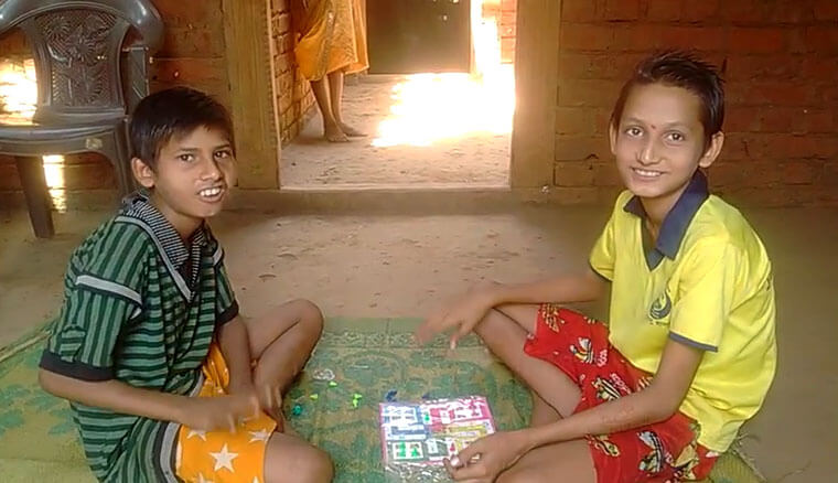 Kids playing in their finished house India
