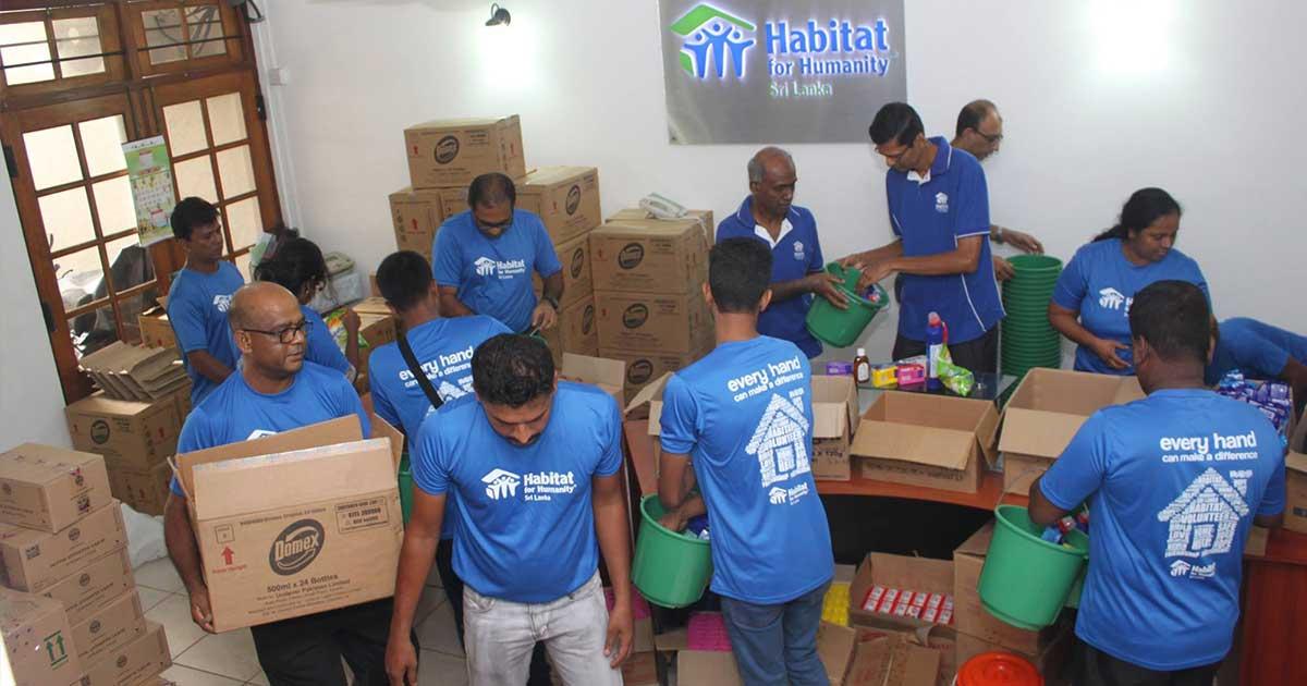 packing humanitarian aid kits sri lanka floods